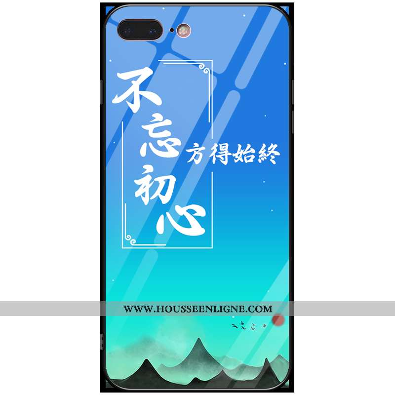 Housse iPhone 7 Plus Personnalité Créatif Téléphone Portable Ornements Suspendus Bleu Anneau Verre