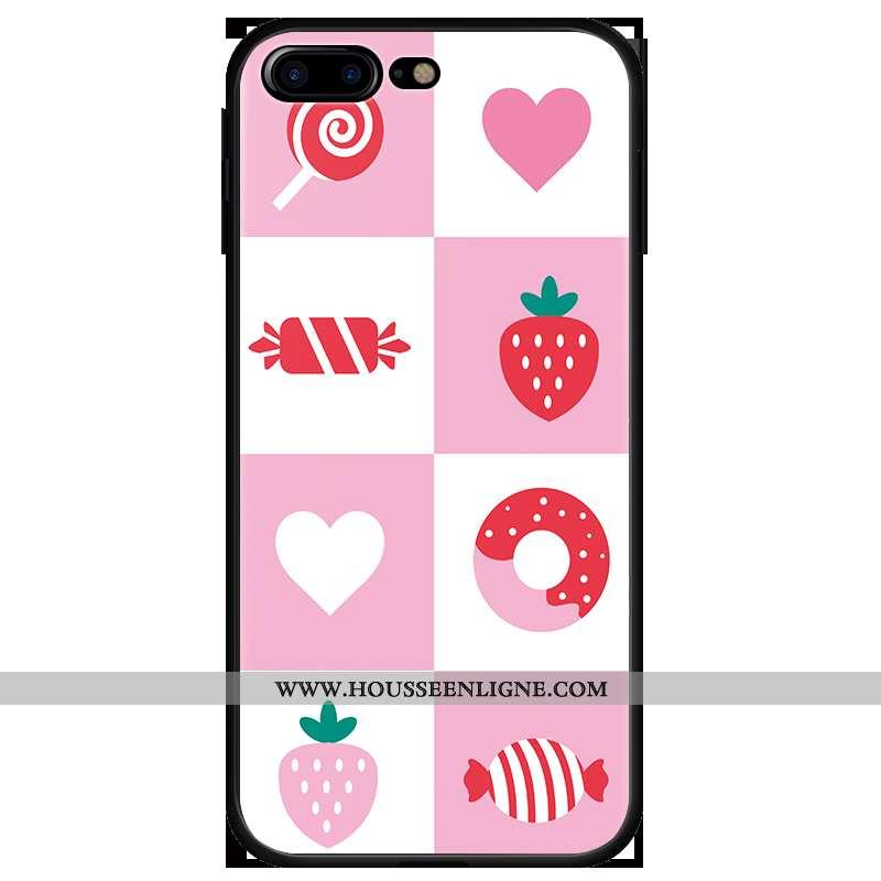 Housse iPhone 7 Plus Protection Dessin Animé Rose Amoureux Pu Coque Tout Compris