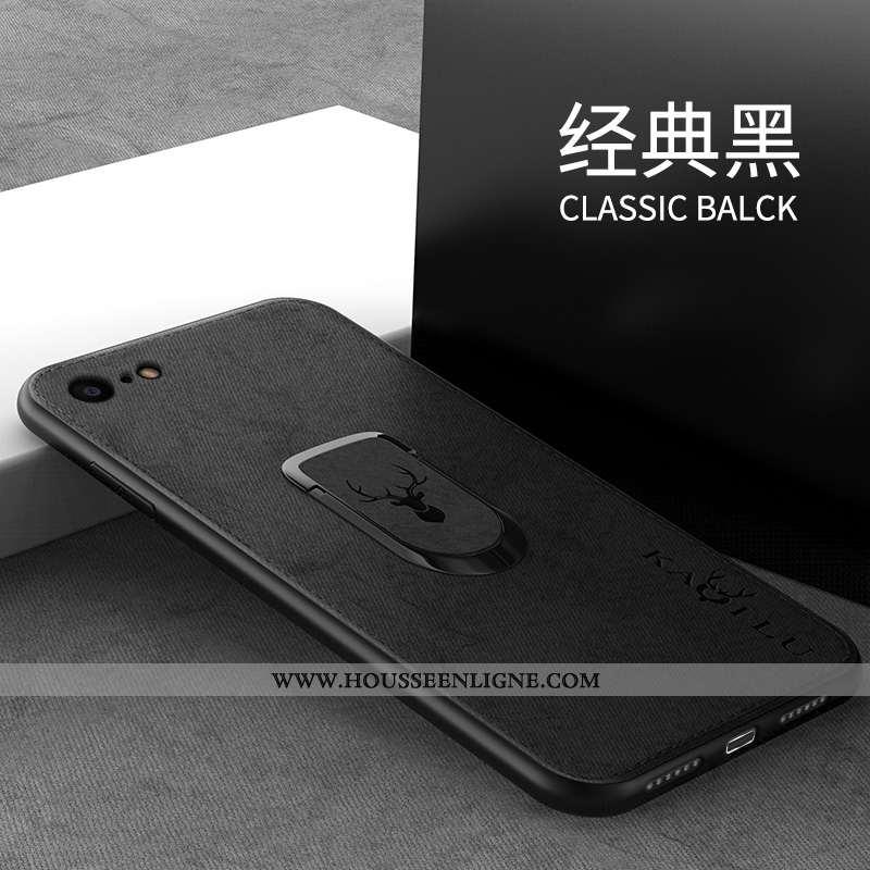 Housse iPhone 7 Silicone Protection Incassable Support Fluide Doux Noir Anneau