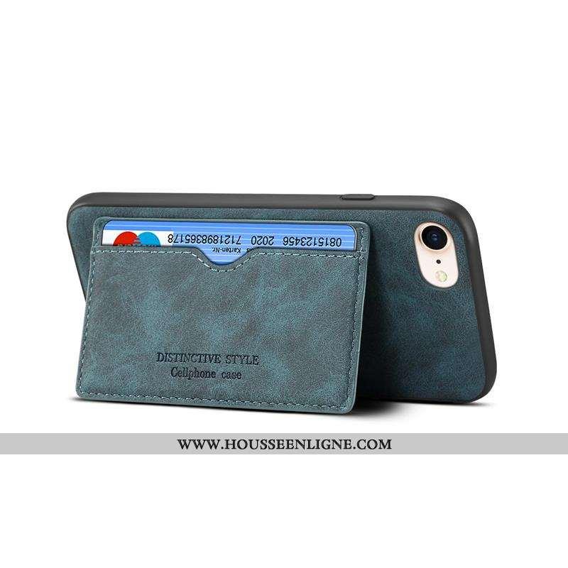 Housse iPhone 8 Cuir Délavé En Daim Simple Tout Compris Vert Carte Incassable Verte