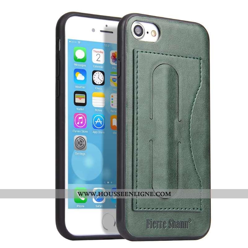 Housse iPhone 8 Cuir Protection Étui Téléphone Portable Tout Compris Incassable Carte Verte