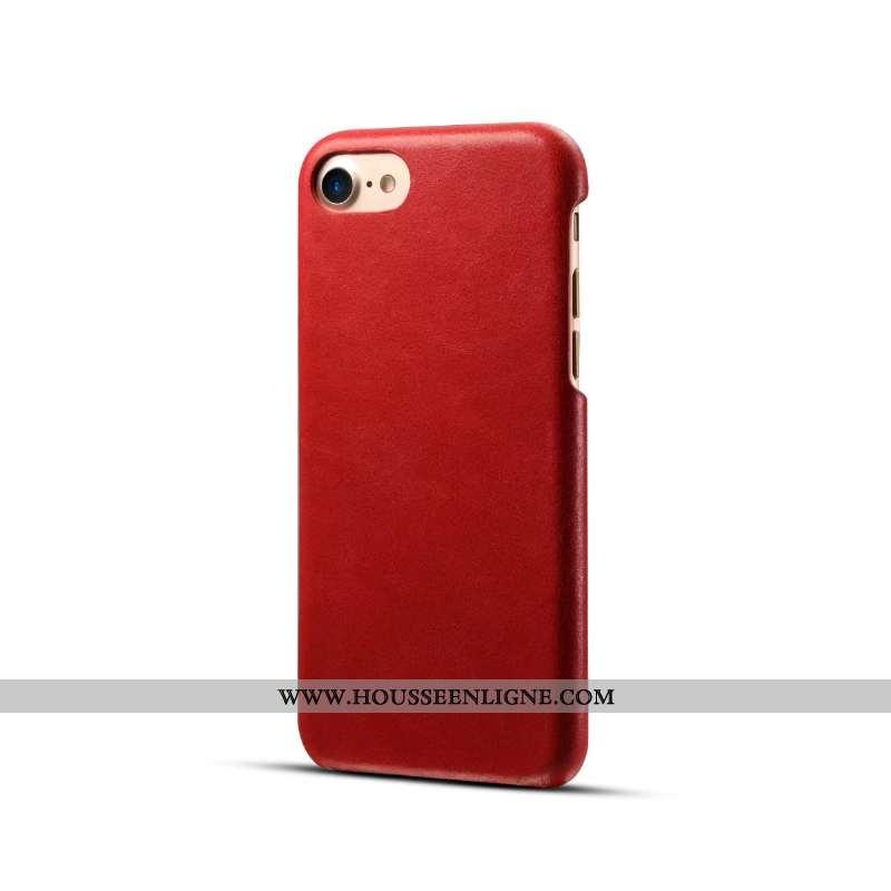 Housse iPhone 8 Cuir Protection Incassable Business Coque Véritable Téléphone Portable Rouge