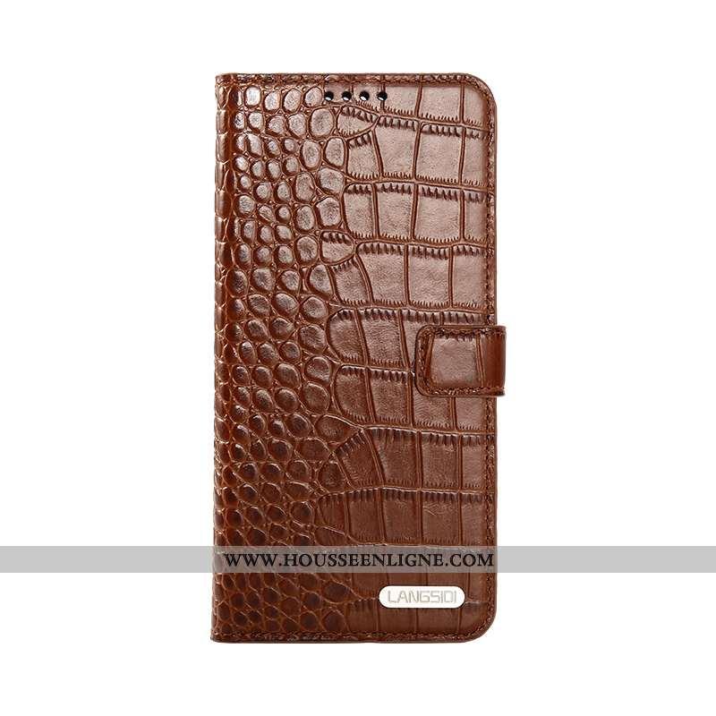 Housse iPhone 8 Cuir Véritable Cuir Clamshell Luxe Incassable Protection Téléphone Portable Marron