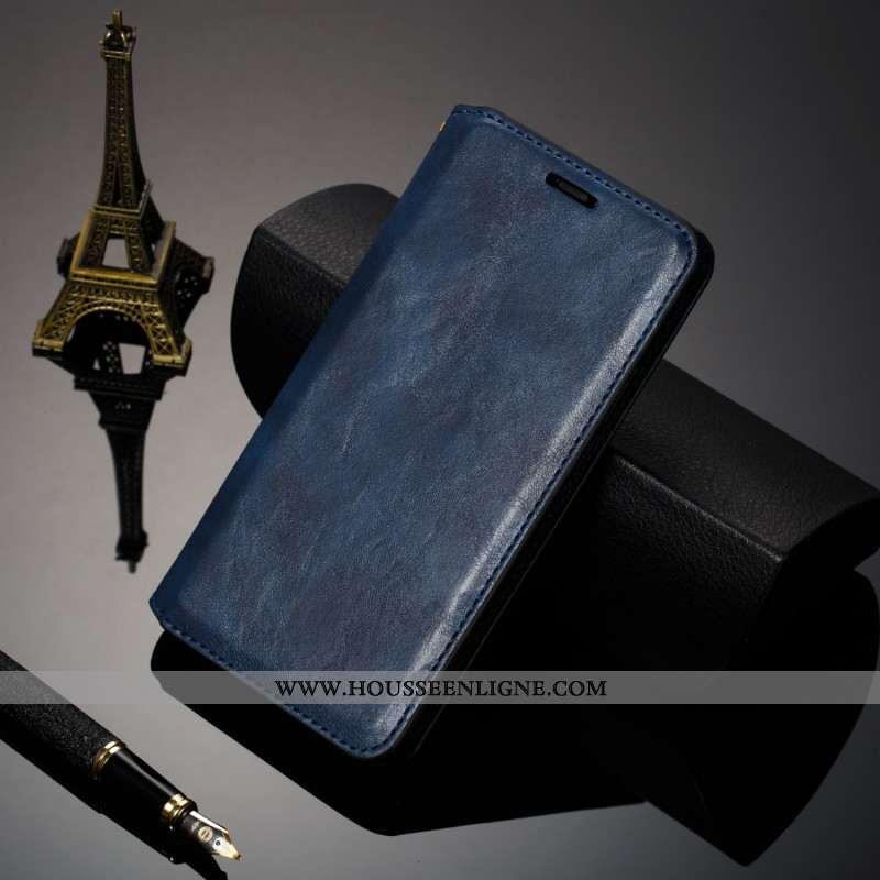 Housse iPhone 8 Cuir Véritable Cuir Coque Nouveau Étui Business Bleu Foncé