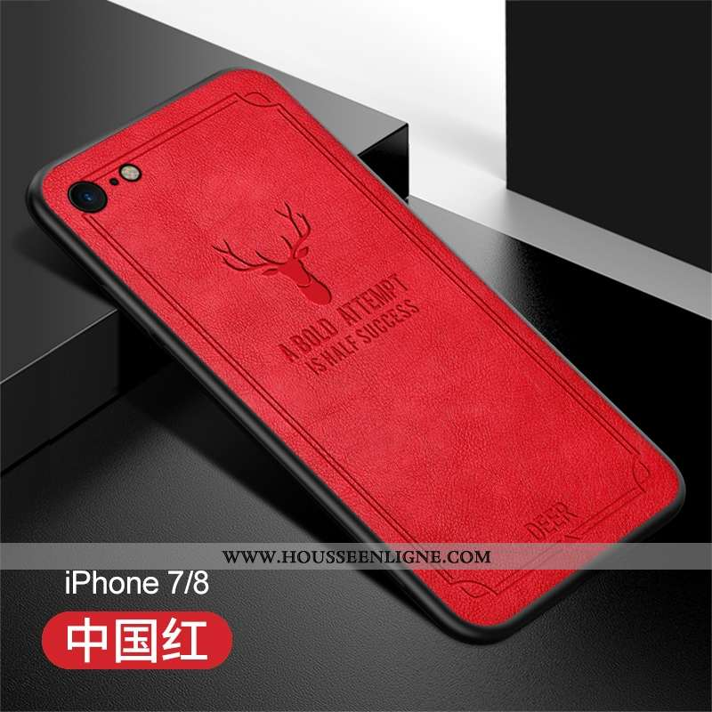 Housse iPhone 8 Fluide Doux Silicone Tendance Luxe Rouge Pu Cuir