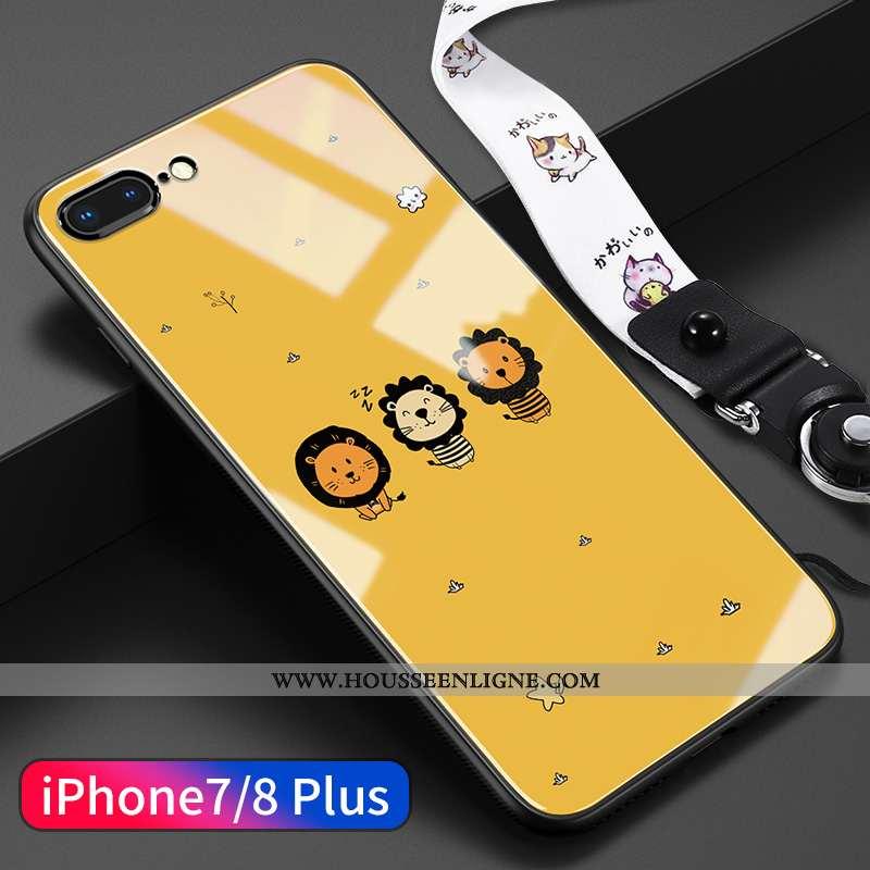 Housse iPhone 8 Plus Dessin Animé Charmant Tendance Ultra Ornements Suspendus Verre Net Rouge Jaune