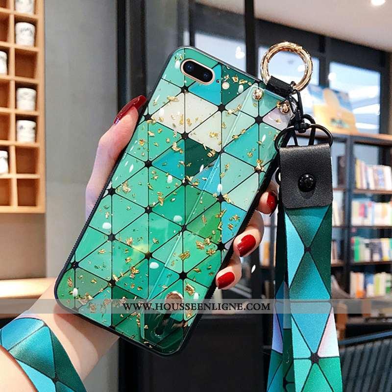 Housse iPhone 8 Plus Ornements Suspendus Créatif Net Rouge Simple Nouveau Incassable Coque Verte