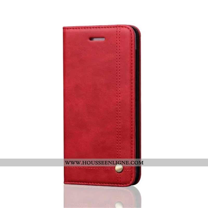 Housse iPhone 8 Plus Protection Cuir Téléphone Portable Rouge Fluide Doux Business Incassable