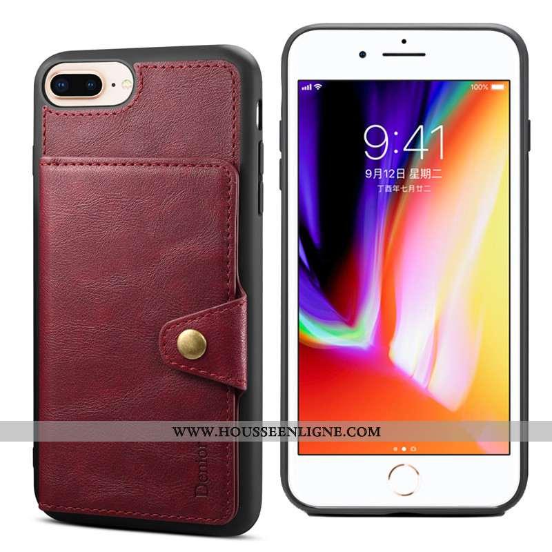 Housse iPhone 8 Plus Protection Fluide Doux Incassable Téléphone Portable Carte Rouge Support