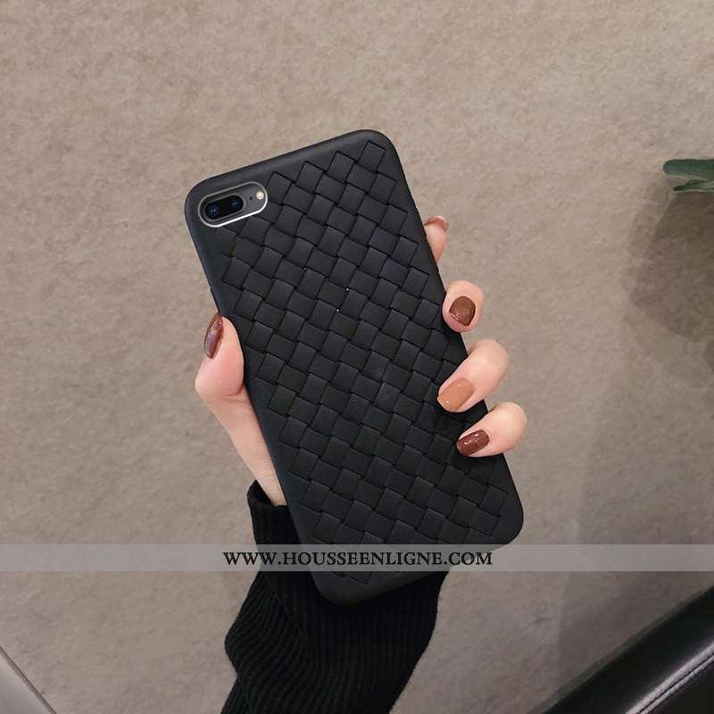 Housse iPhone 8 Plus Protection Tendance Silicone Tissage Coque Refroidissement Étui Noir