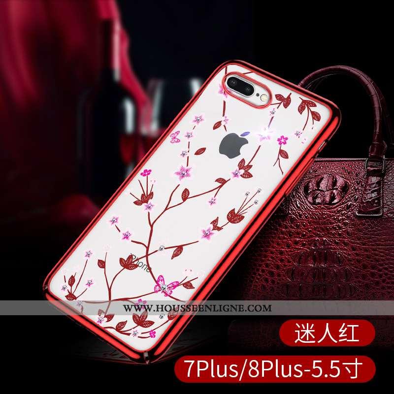 Housse iPhone 8 Plus Transparent Strass Luxe Légère Tout Compris Luxe Incassable Rouge