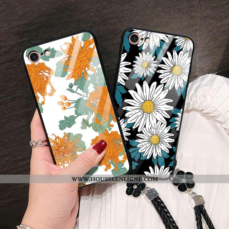 Housse iPhone 8 Tendance Silicone Mode Verre Personnalité Téléphone Portable Fleur Orange