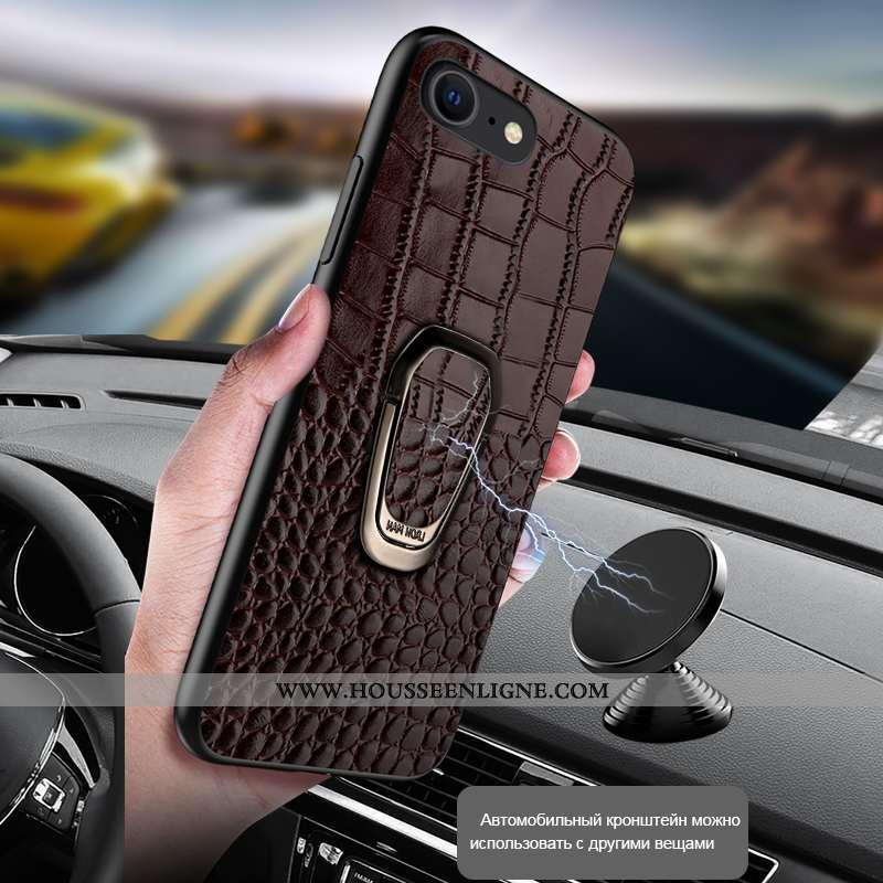 Housse iPhone Se (nouveau) Légère Cuir Luxe Incassable Tout Compris À Bord Haute Marron