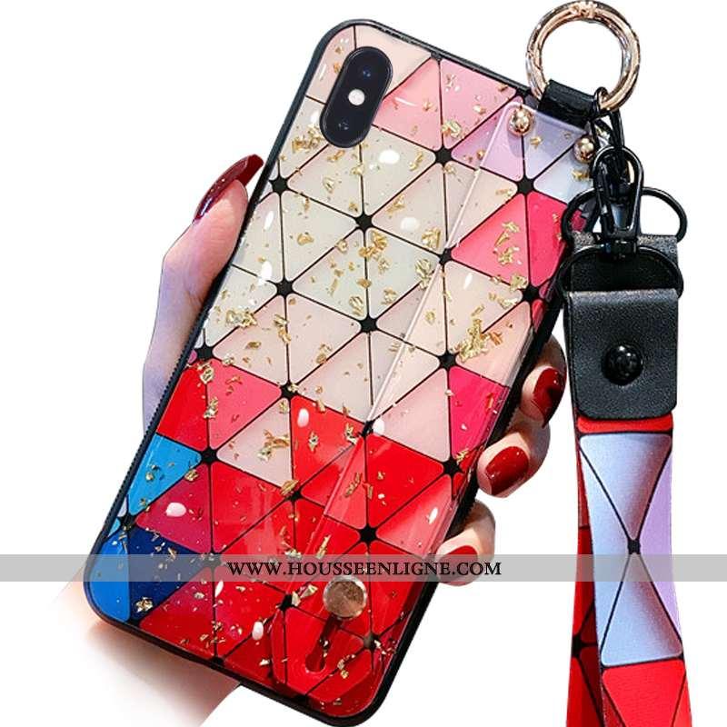 Housse iPhone X Cou Suspendu Fluide Doux Délavé En Daim Téléphone Portable Mode Nouveau Multicolore