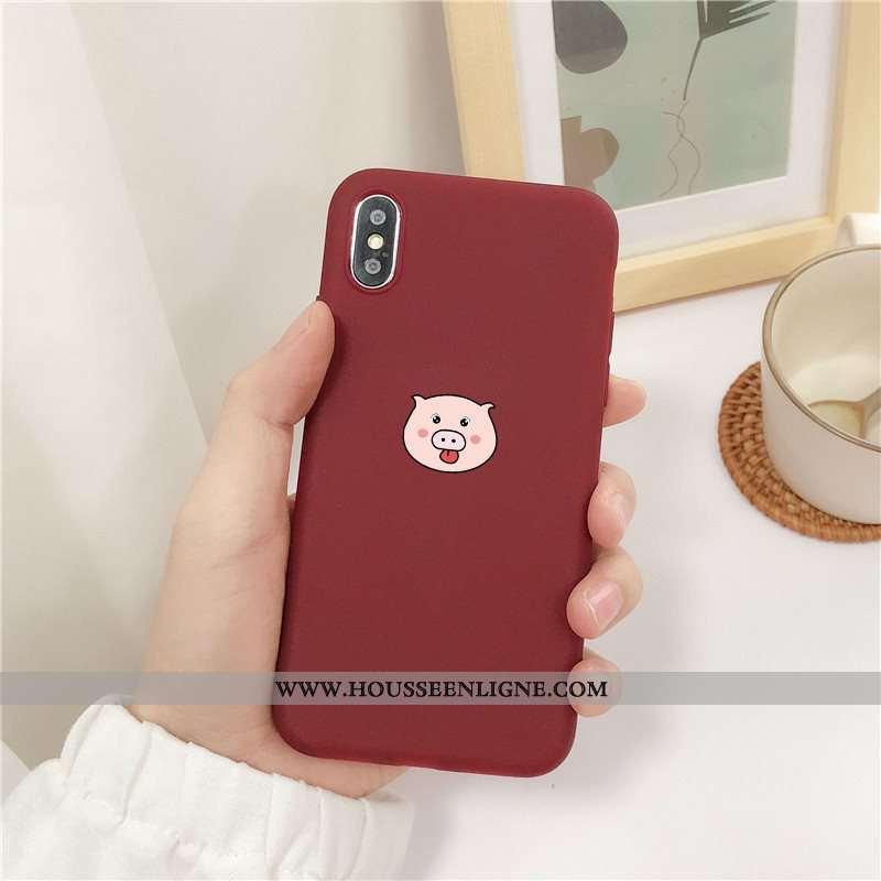 Housse iPhone X Délavé En Daim Fluide Doux Étui Rouge Téléphone Portable Petit Coque