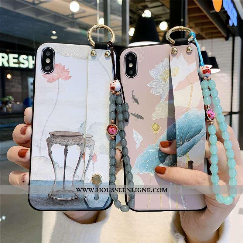 Housse iPhone X Fluide Doux Protection Étui Fleur Support Coque Téléphone Portable Rose