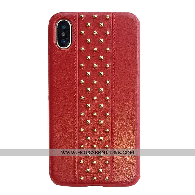 Housse iPhone X Métal Personnalité Rouge Mode Créatif Couleur Unie Étui