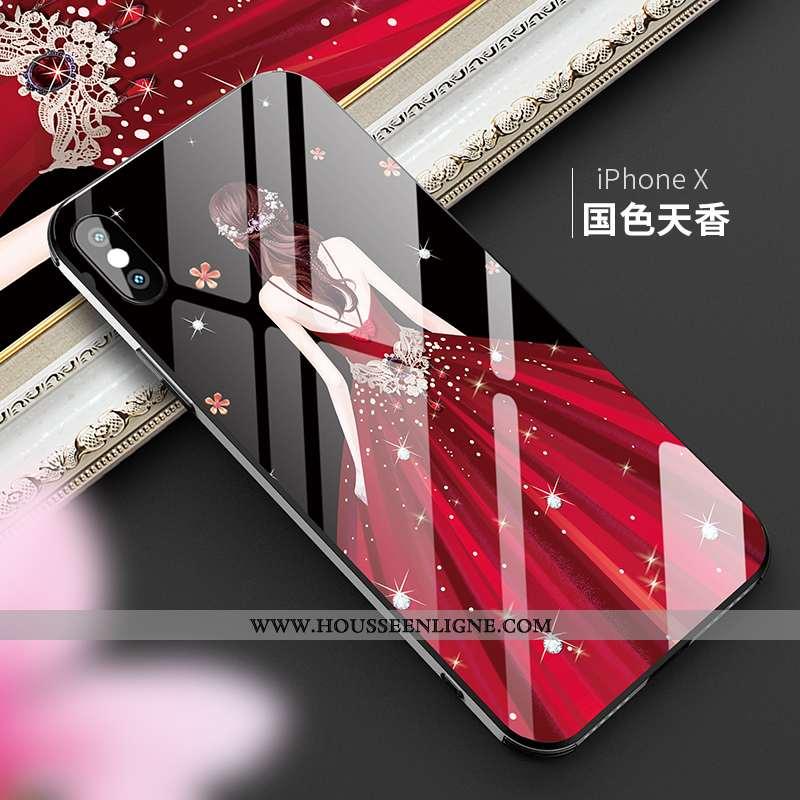 Housse iPhone X Mode Verre Luxe Incassable Nouveau Personnalité 2020 Noir