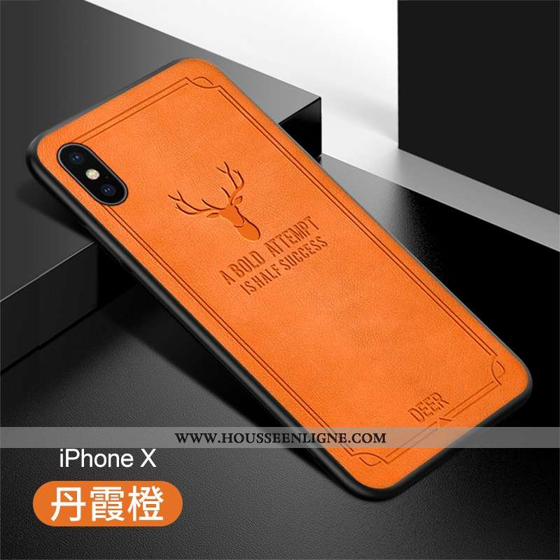 Housse iPhone X Protection Ultra Incassable Cuir Étui Vert Légère Orange