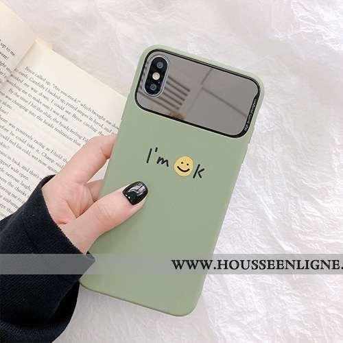 Housse iPhone X Silicone Fluide Doux Incassable Cœur Coque Vert Téléphone Portable Verte