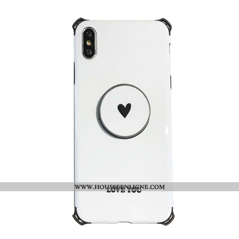 Housse iPhone X Tendance Légère Blanc Téléphone Portable Amoureux Simple Incassable Blanche