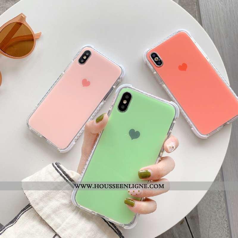 Housse iPhone X Tendance Silicone Incassable Amour Coque Couleur Unie Vert Verte