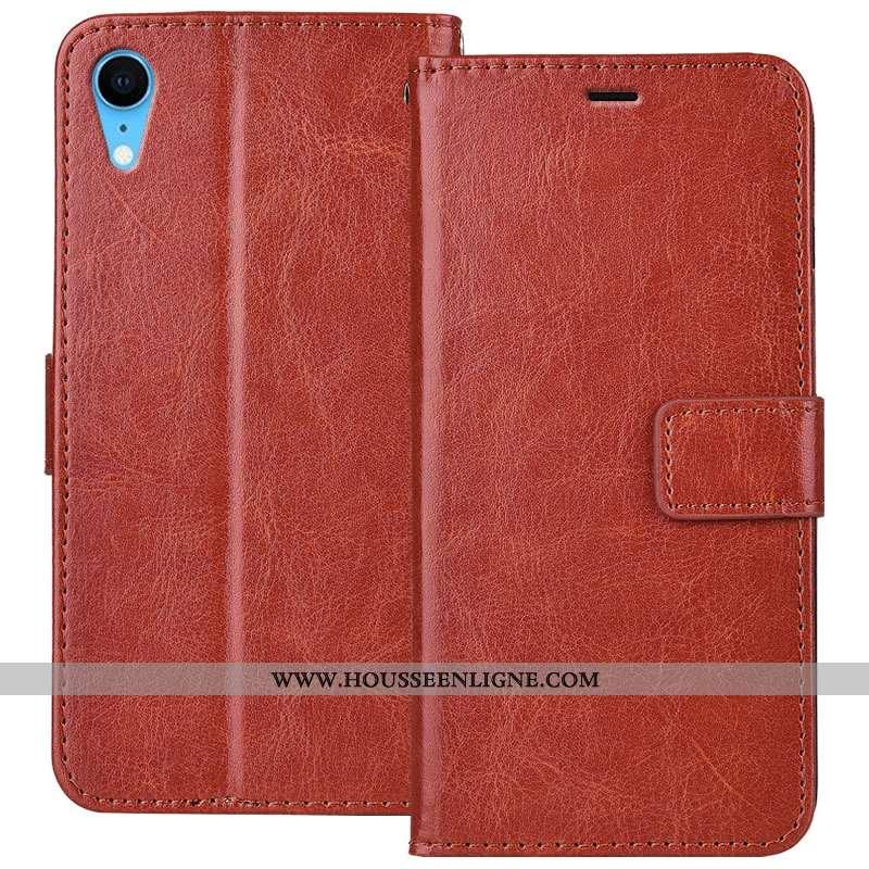 Housse iPhone Xr Cuir Fluide Doux Téléphone Portable Protection Étui Incassable Marron