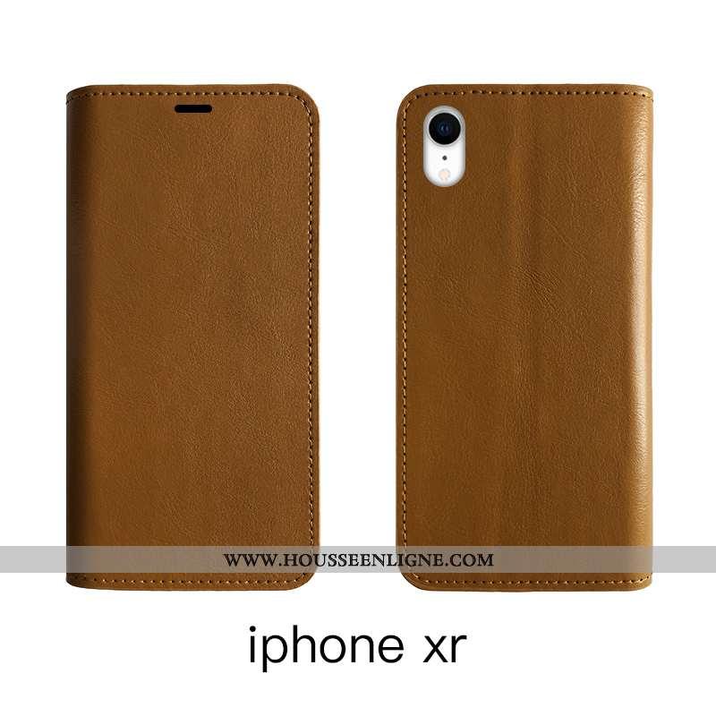 Housse iPhone Xr Cuir Protection Étui Véritable Incassable Bovins Tout Compris Marron