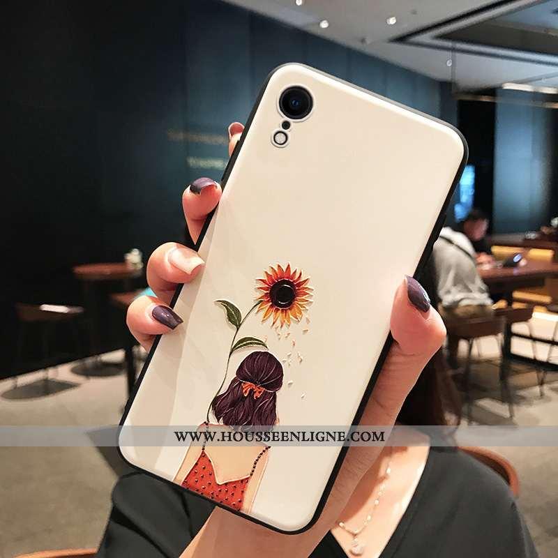 Housse iPhone Xr Fluide Doux Silicone Incassable Frais Simple Étui Créatif Blanche