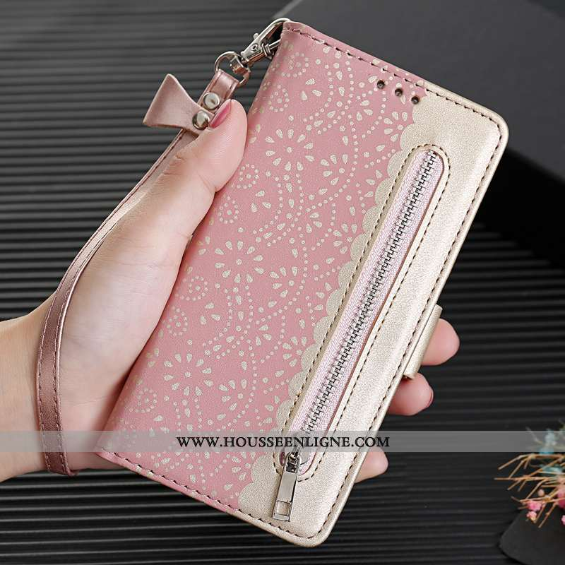 Housse iPhone Xr Ornements Suspendus Personnalité Luxe Coque Téléphone Portable Clamshell Cuir Rose