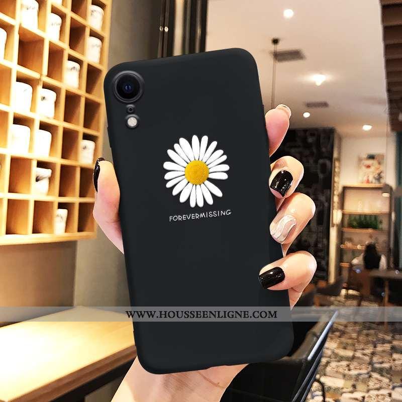 Housse iPhone Xr Personnalité Créatif Fleur Ultra Tendance Dessin Animé Téléphone Portable Noir