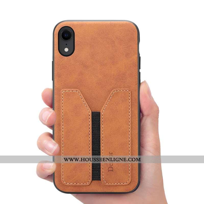 Housse iPhone Xr Portefeuille Cuir Coque Étui Téléphone Portable Marron