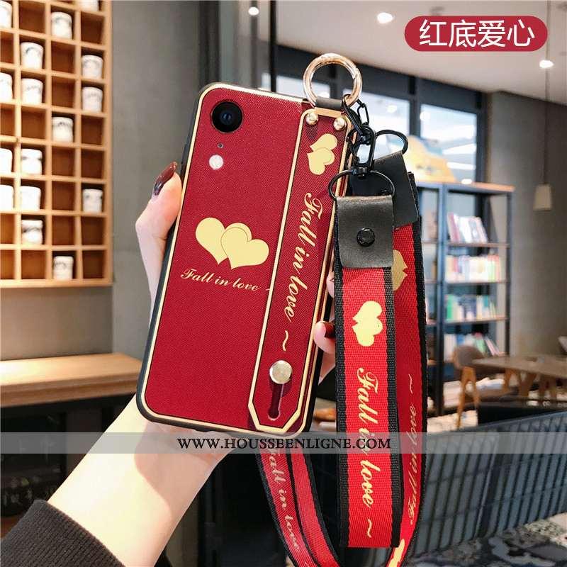 Housse iPhone Xr Protection Ornements Suspendus Frais Cou Suspendu Net Rouge Vent Téléphone Portable
