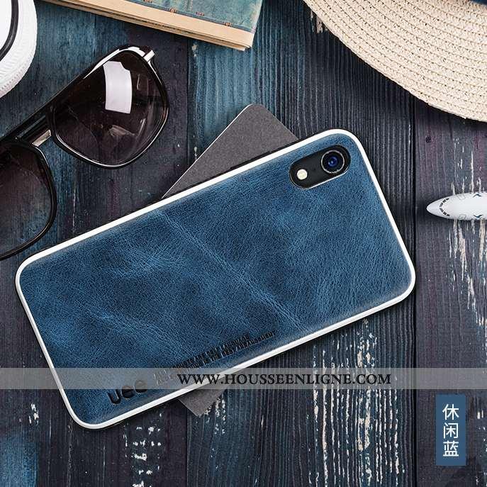 Housse iPhone Xr Silicone Cuir Véritable Téléphone Portable Business Coque Tout Compris Étui Bleu Fo