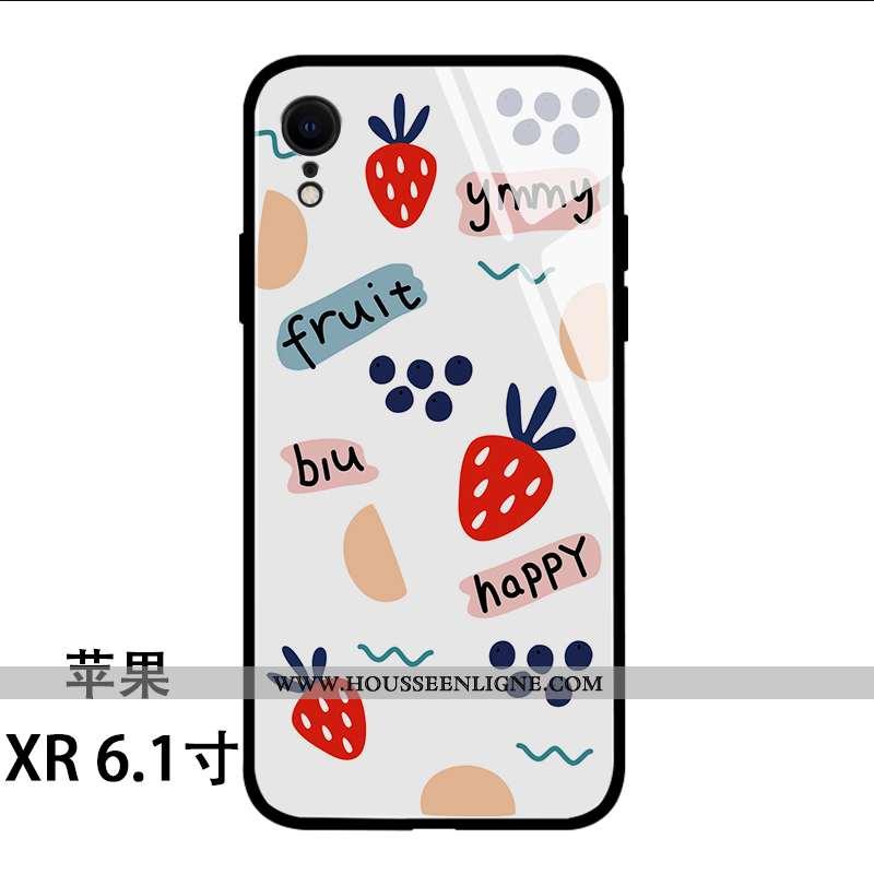 Housse iPhone Xr Silicone Verre Amoureux Frais Fraise Fruit Blanc Blanche
