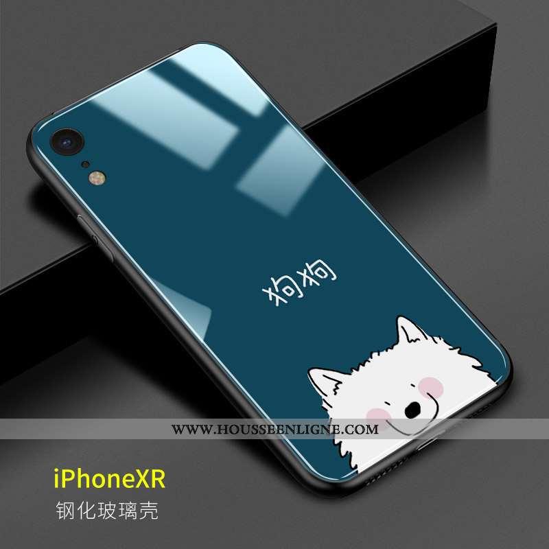 Housse iPhone Xr Verre Personnalité Coque Téléphone Portable Amoureux Incassable Difficile Bleu Fonc