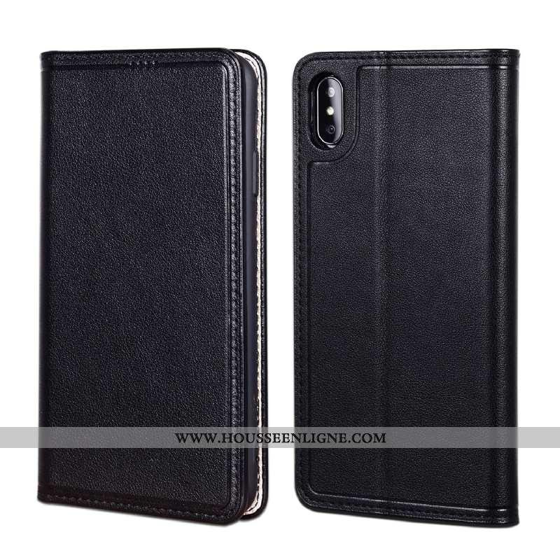 Housse iPhone Xs Cuir Protection Téléphone Portable Noir Coque Véritable Étui