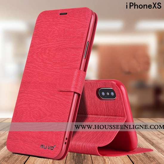 Housse iPhone Xs Fluide Doux Silicone Étui Téléphone Portable Protection Cuir Rouge