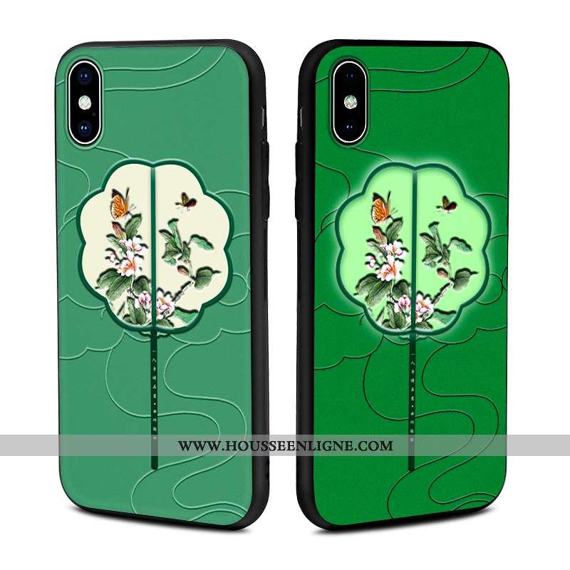 Housse iPhone Xs Max Élégant Tendance Cuir Lumineuses Incassable Coque Modèle Fleurie Verte
