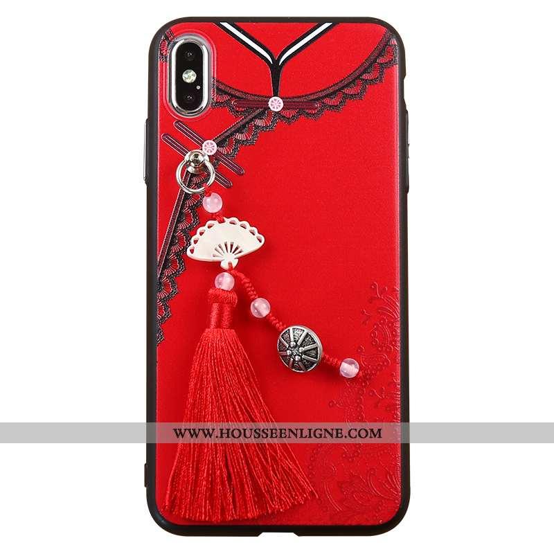 Housse iPhone Xs Max Créatif Gaufrage Rouge Style Chinois À Franges Coque Téléphone Portable