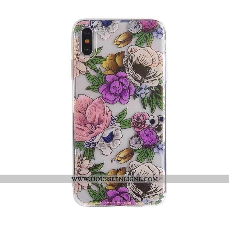 Housse iPhone Xs Max Fluide Doux Transparent Beau Violet Téléphone Portable Coque Fleur