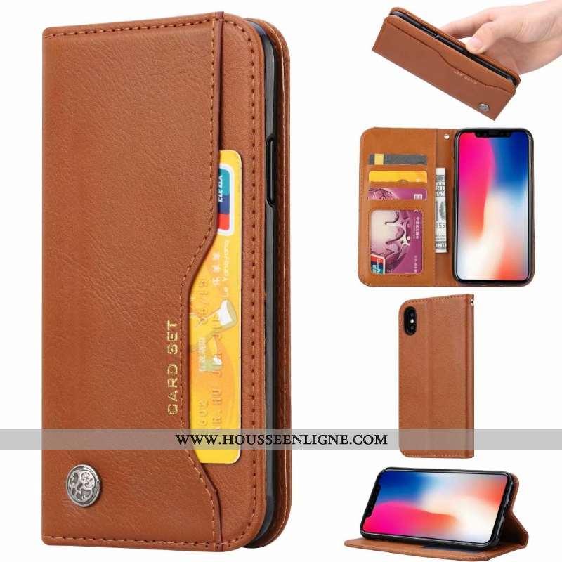 Housse iPhone Xs Max Protection Cuir Incassable Carte Coque Tout Compris Marron