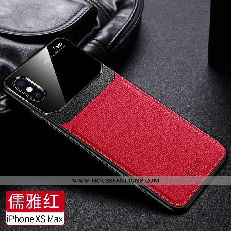 Housse iPhone Xs Max Protection Verre Tendance Nouveau Téléphone Portable Coque Fluide Doux Rouge