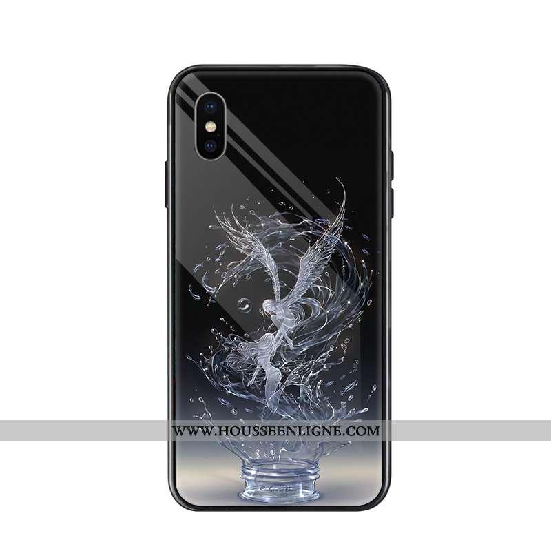 Housse iPhone Xs Max Tendance Verre Noir Simple Étui Élégant Personnalité