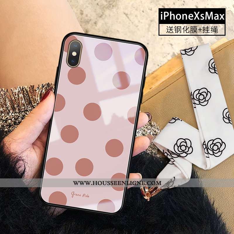 Housse iPhone Xs Max Tendance Verre Téléphone Portable Nouveau Rose Incassable Tout Compris