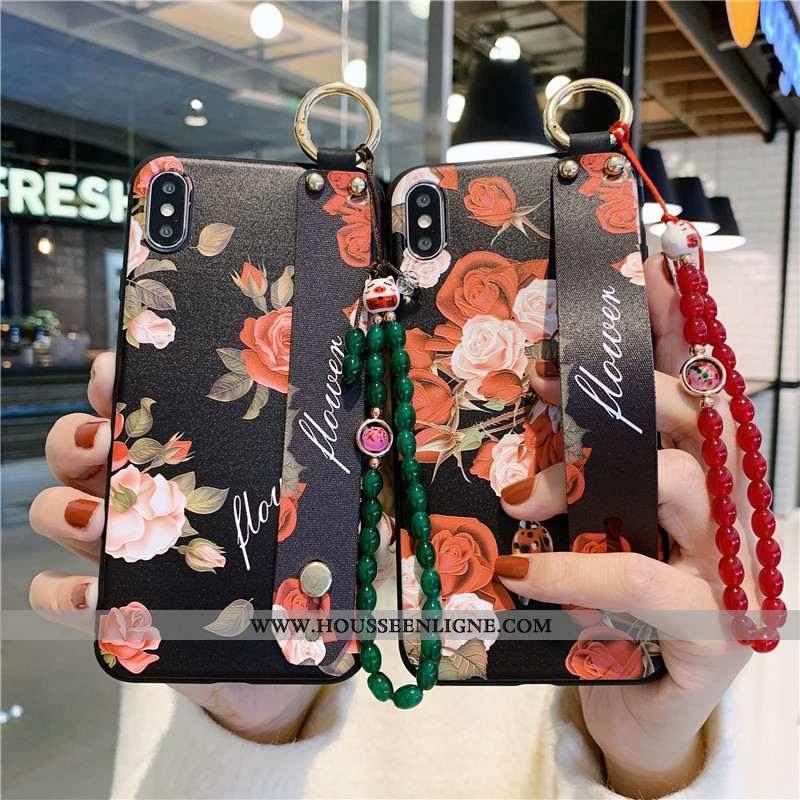 Housse iPhone Xs Max Vintage Protection Téléphone Portable Support Vent Coque Tout Compris Noir