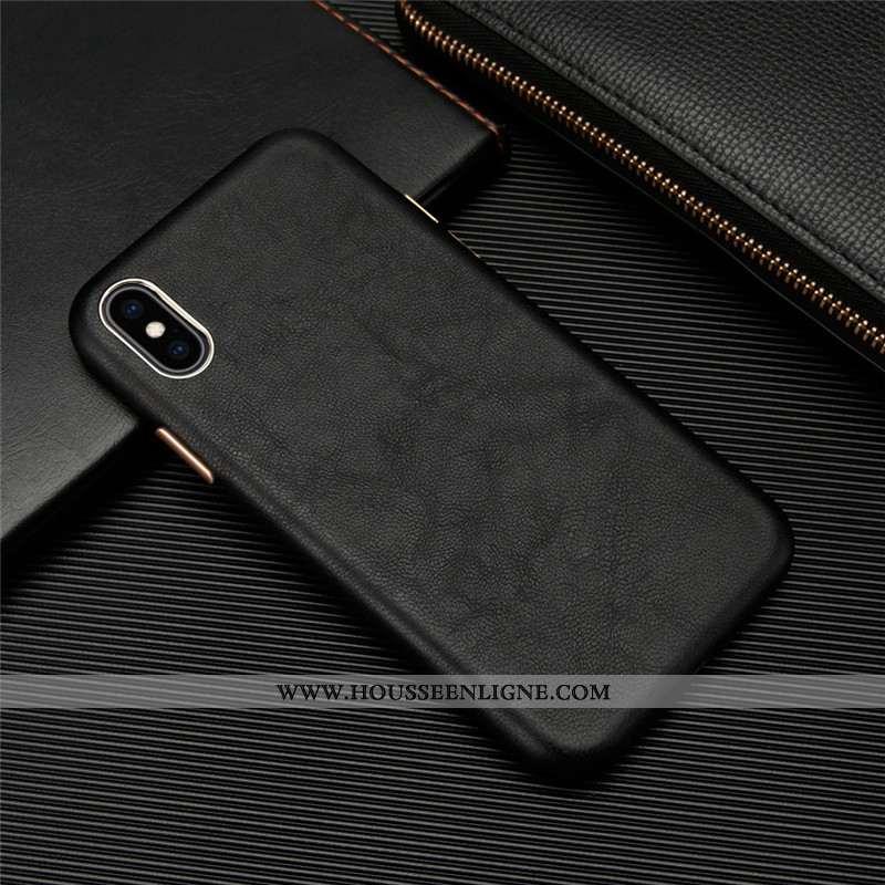 Housse iPhone Xs Personnalité Cuir Véritable Cuir Légère Coque Incassable Téléphone Portable Noir