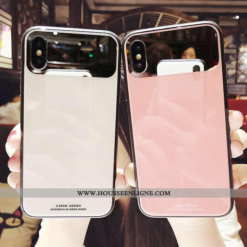 Housse iPhone Xs Personnalité Tendance Verre Téléphone Portable Coque Miroir Rose