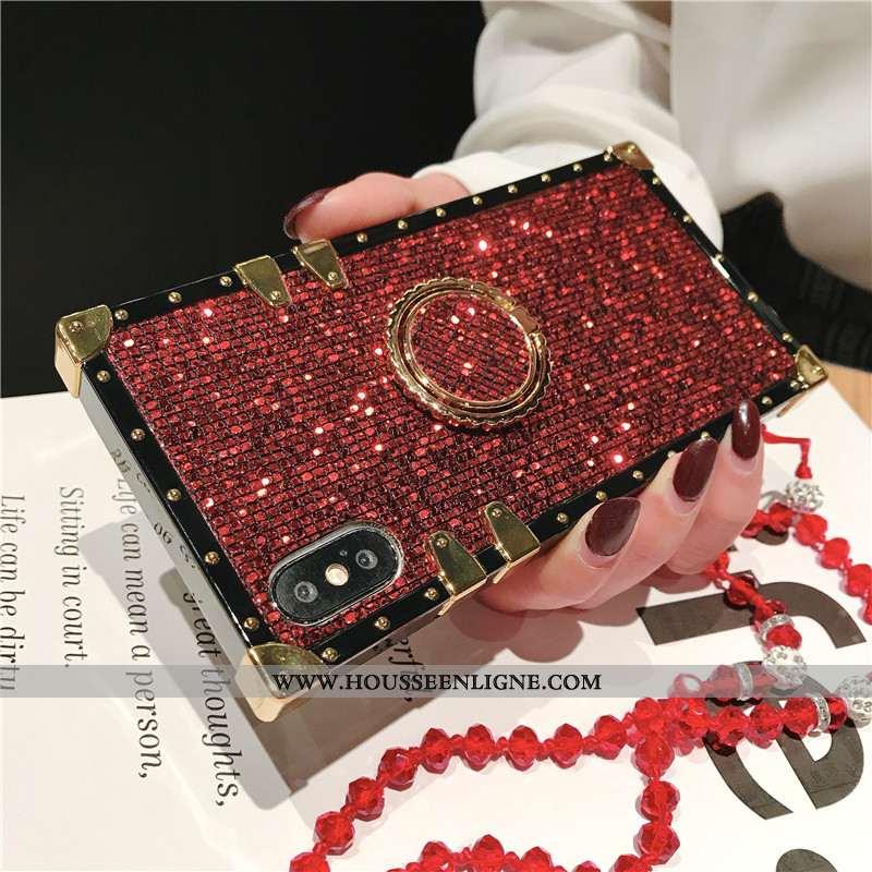 Housse iPhone Xs Protection Personnalité Incassable Coque Rouge Rose Téléphone Portable