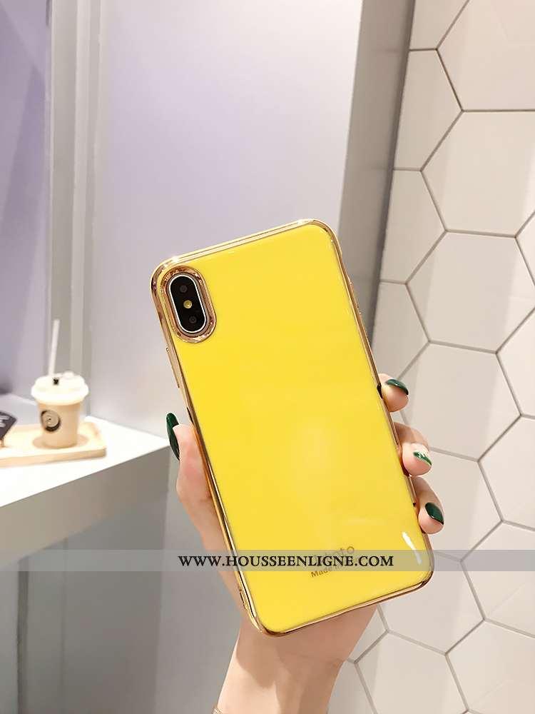 Housse iPhone Xs Tendance Légère Net Rouge Incassable Simple Protection Placage Jaune